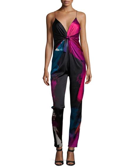 Diane von Furstenberg Rylen Tie-Front Stretch-Silk Jumpsuit,