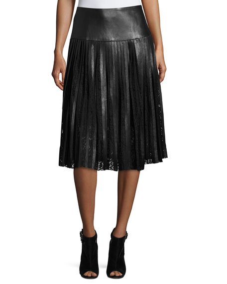 LaMarque Jolene Pleated Leather & Lace Midi Skirt,