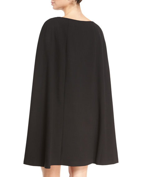 Crepe Cape-Back Shift Dress, Black