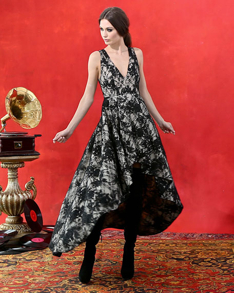 Alice Olivia Sleeveless Lace High Low Cocktail Dress Black Sesame