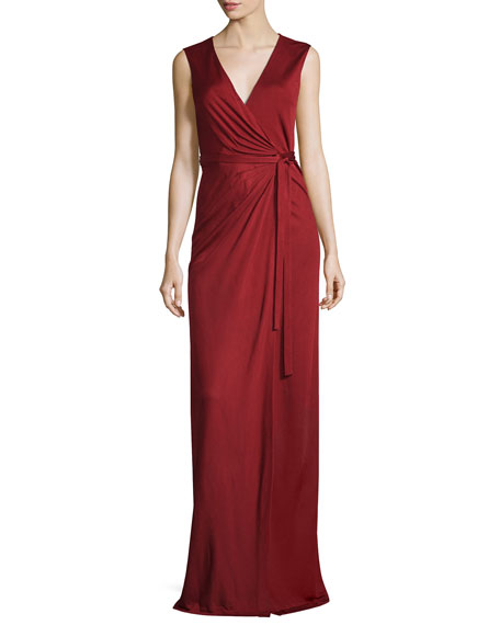 Taley Sleeveless Maxi Wrap Dress, Garnet