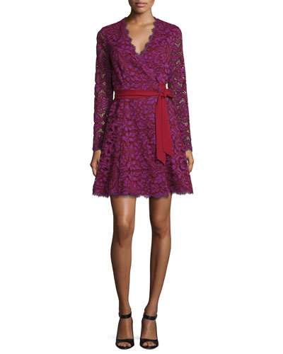 Shaelyn Lace Long-Sleeve Wrap Dress, Purple Amethyst/Red Onyx