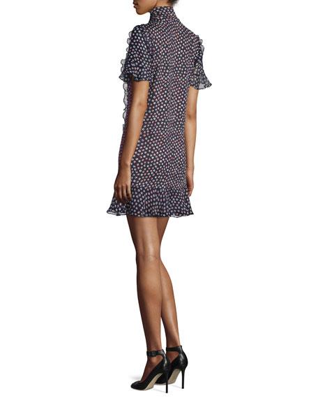 Sebina Printed Knit Dress w/Chiffon Ruffles, Piouette Dot