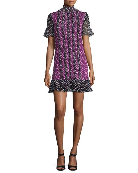 Diane von Furstenberg Sebina Printed Knit Dress w/Chiffon