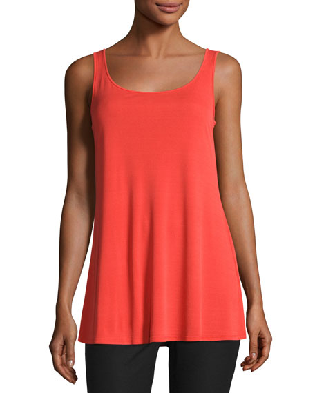 Eileen Fisher Jersey Sleeveless Scoop-Neck Tunic, Poppy, Plus