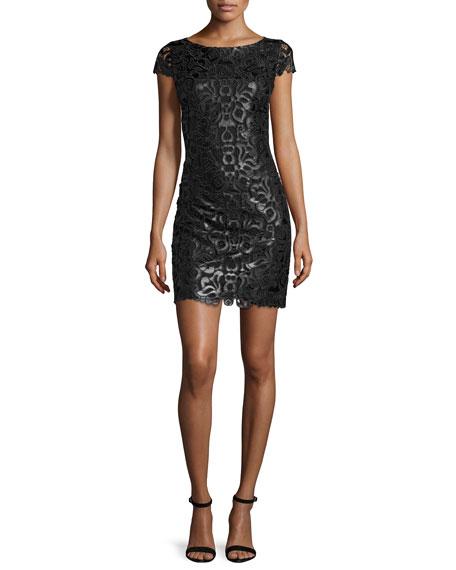 Alice + Olivia Penni Faux-Leather Lace Dress, Black