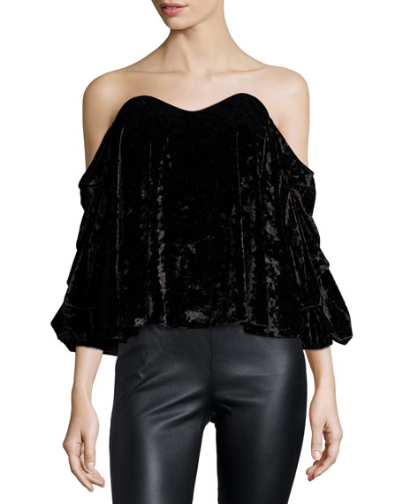 Caroline Constas Gabriella Off-the-Shoulder Velvet Bustier Top,