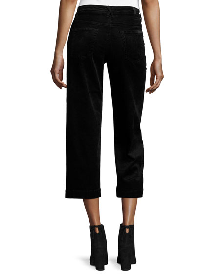 7 For All Mankind Wide-Leg Velvet Culottes, Black
