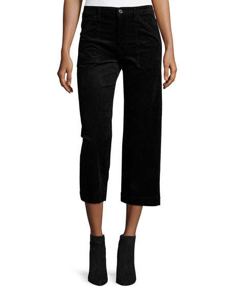 7 For All Mankind Wide-Leg Velvet Culottes, Black
