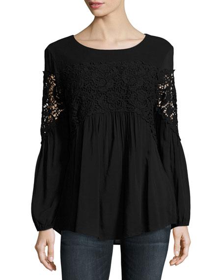 Aubree Floral-Crochet Top