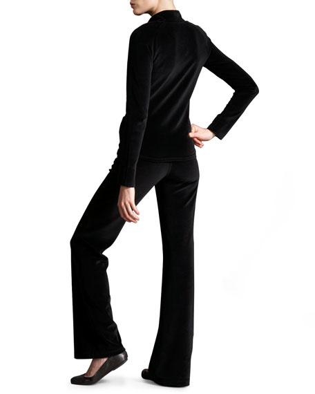 Embellished Velour Tracksuit, Black