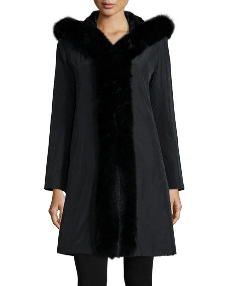 Hooded Reversible Fur-Trim Coat, Black