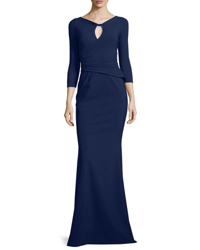 Kelcie Ruched Keyhole Gown, Navy