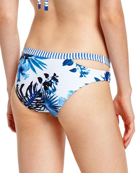 Tropic Coast Split-Band Hipster Swim Bottom, White