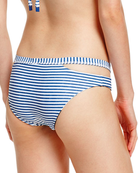 Tropic Coast Split-Band Hipster Swim Bikini Bottom, White