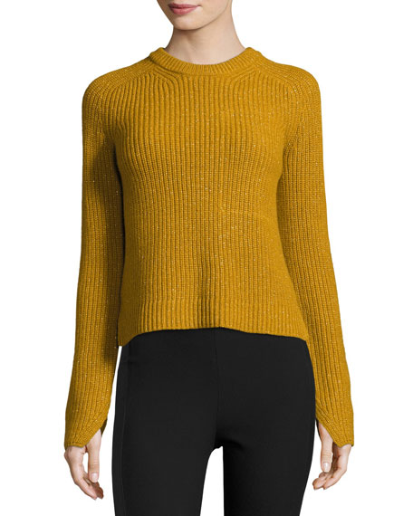 Genna Ribbed Pullover Sweater, Gold