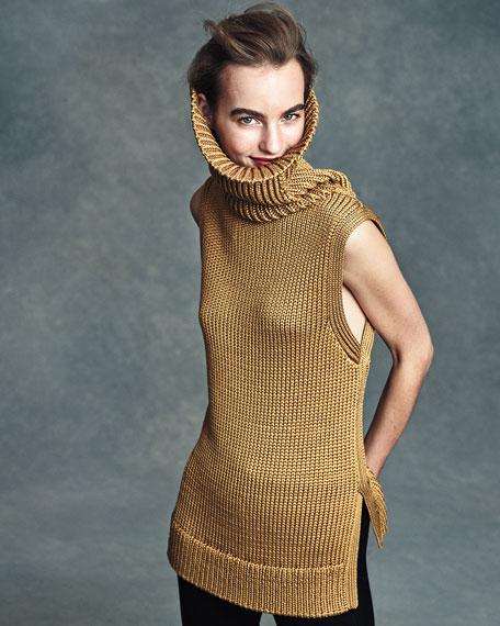 Adele Sleeveless Ribbed Top, Gold