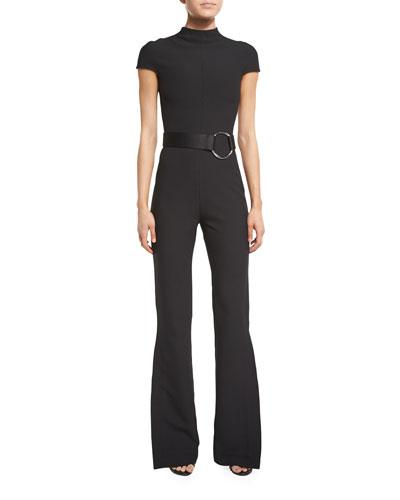 Orville Short-Sleeve Crepe Slit-Cuff Jumpsuit, Black