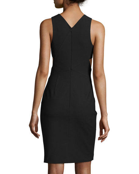Aldridge Sleeveless Cutout Sheath Dress, Black