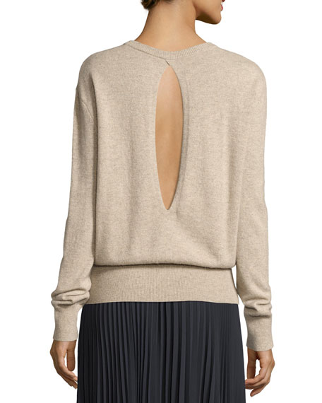 Cashmere Cutout-Back Blouson Sweater
