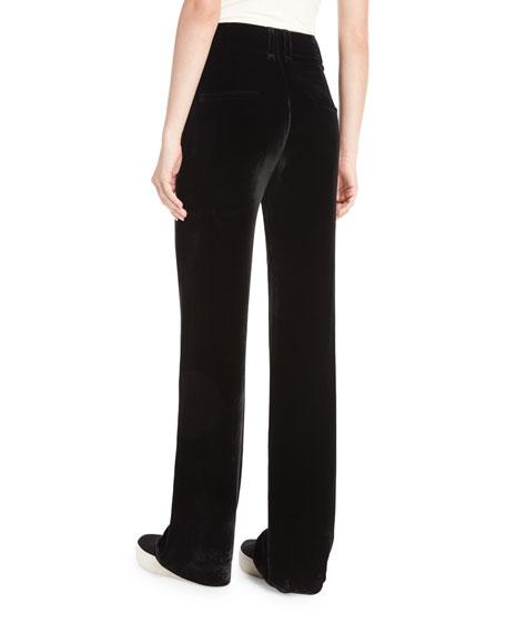 Velvet Wide-Leg Trousers, Black