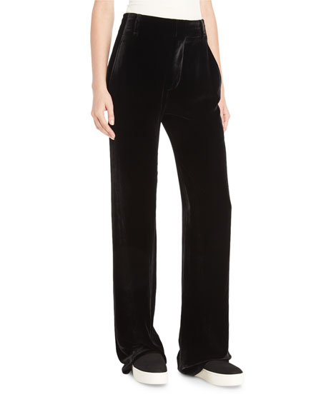 Velvet Wide-Leg Trousers, Black