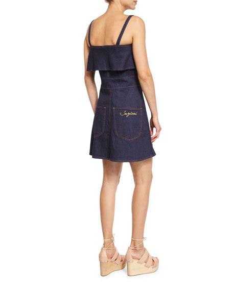 Sleeveless Stretch Denim Mini Dress, Indigo