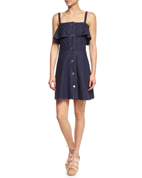 See by Chloe Sleeveless Stretch Denim Mini Dress,