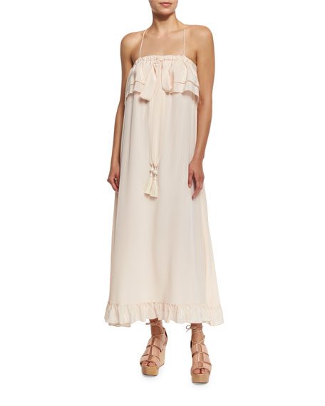 Sleeveless Ruffle-Trim Silk Popover Midi Dress, Pink