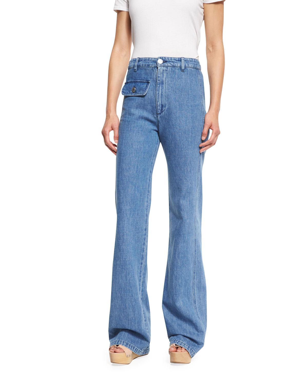 601d11ae43 Stretch Denim High-Rise Flare Jeans, Washed Indigo