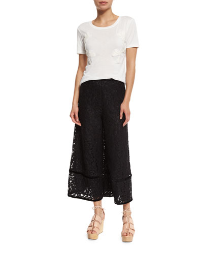 SEE BY CHLOÉ Downs LACE-TRIM VELOUR CULOTTES, BLACK