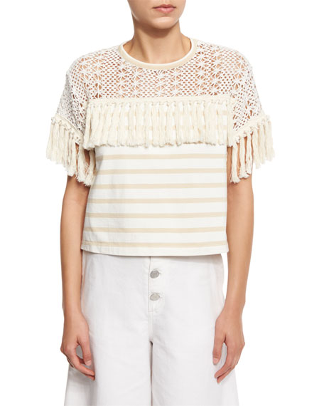 See by Chloe Boxy Cropped Mixed-Media Tee, Cream