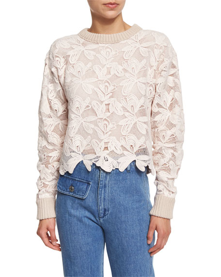 See by Chloe Floral Mesh Pullover Sweater, Powder