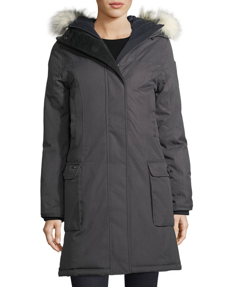 Nobis Abby Knee-Length Coat with Fur Hood