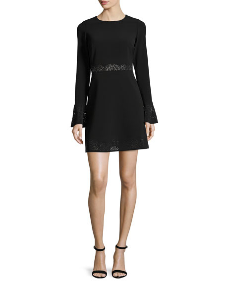 Sonoma Eyelet-Trim Mini Dress, Black