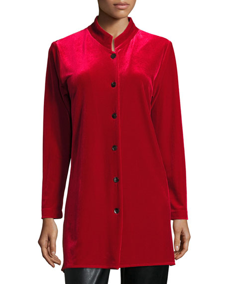 Mandarin-Collar Velvet Shirt, Plus Size