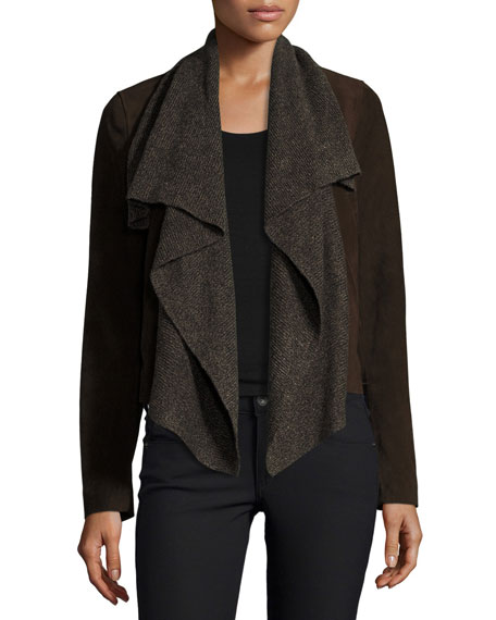 Suede & Ribbed-Knit Waterfall Jacket, Brown