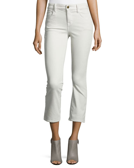 J Brand Selena Mid-Rise Cropped Boot-Cut Corduroy Jeans,