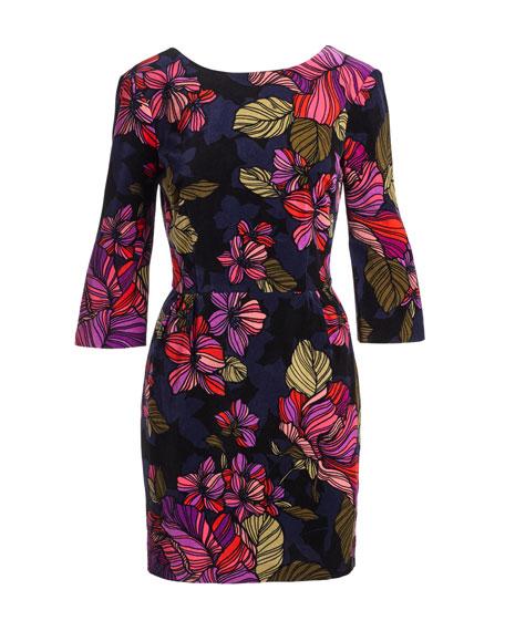 3/4-Sleeve Floral Cocktail Dress, Multicolor