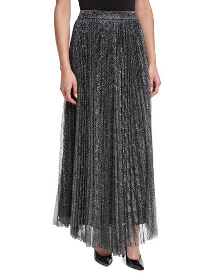 Alice   Olivia Katz Metallic Pleated Maxi Skirt, Dark Silver