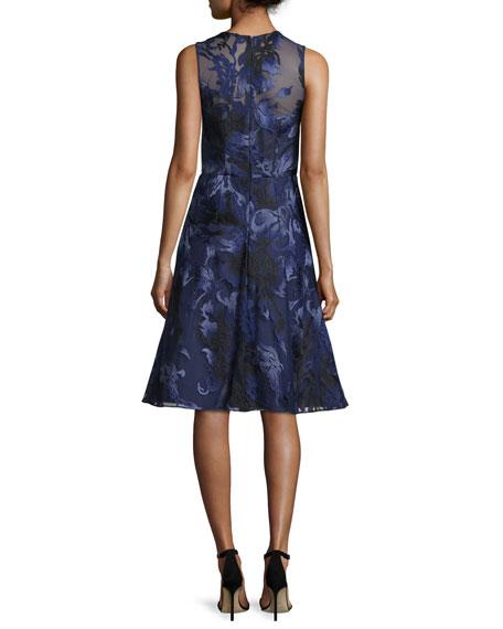 Sleeveless Beaded Floral Jacquard Dress, Navy