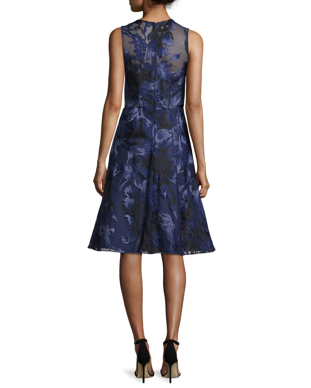 David Meister Sleeveless Beaded Floral Jacquard Dress, Navy | Neiman ...