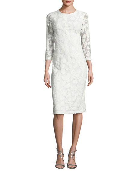 3/4-Sleeve Embroidered Sheath Dress, Off White