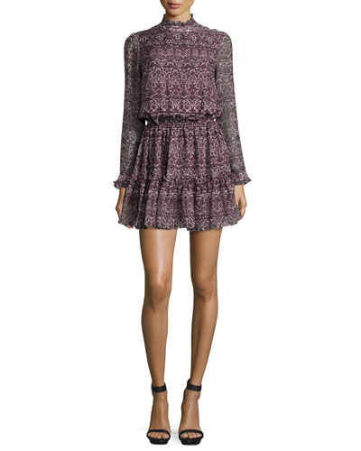 Long-Sleeve Printed Silk Dress, Aubergine/Multicolor