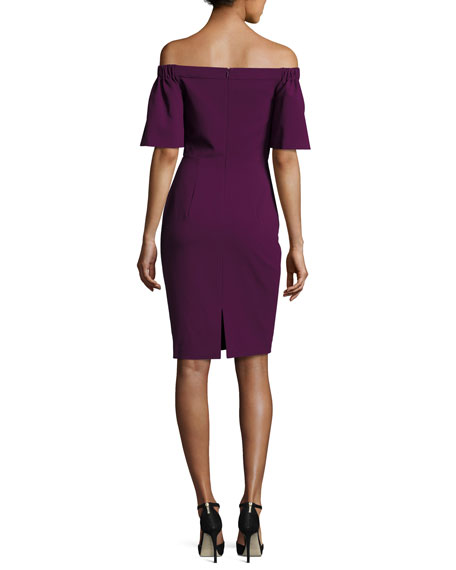 Off-the-Shoulder Ponte Sheath Dress, Jezebel