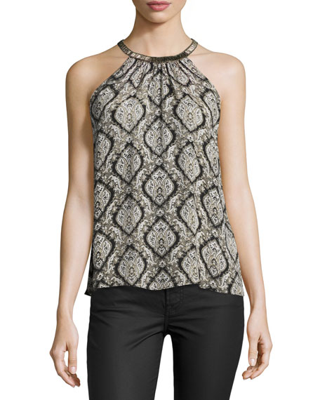 Joie Francis Halter-Neck Printed Silk Blouse, Dusty Pink