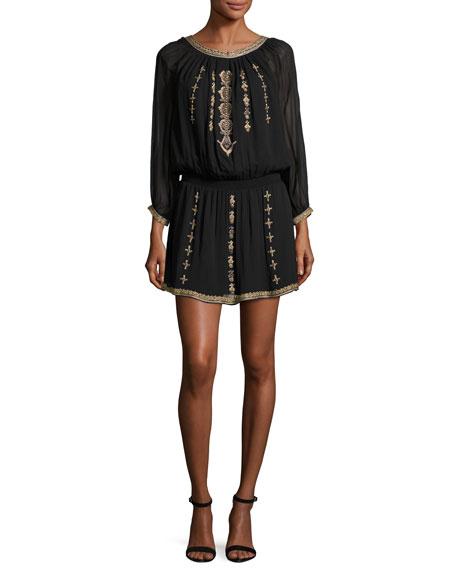 Joie Berline Embroidered Blouson Dress, Caviar/Antique Bronze