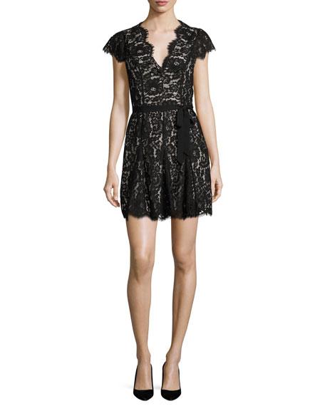 Joie Sloane Cap-Sleeve Lace Dress, Caviar w/ Nude