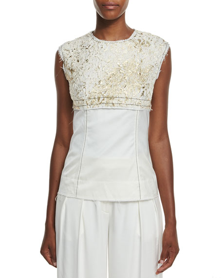 DKNY S/L Foiled Lace Paneled Top Pleated Wide-Leg