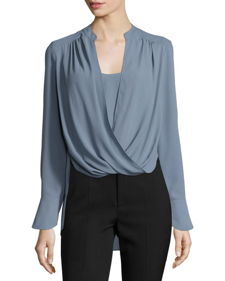 Jaklyn Drape-Front Blouse, Light Blue Haze